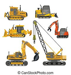 Building work, construction machinery equipment isolated icons