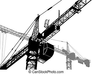 Building yard - Construction of a building. Silhouettes of...