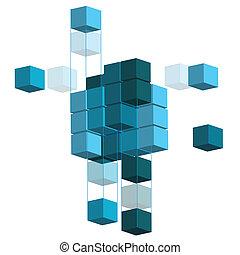 3D illustration shape, over a white background.