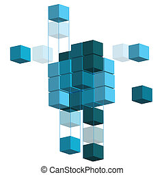 Building your Business - 3D illustration shape, over a white...