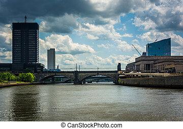 buildings, филадельфия, pennsylvania., schuylkill, вдоль,...