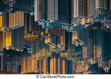Buildings abstract upside down hong kong building city