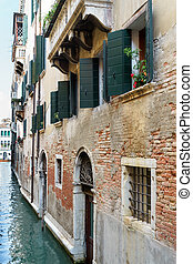 Buildings along a canal in Venice