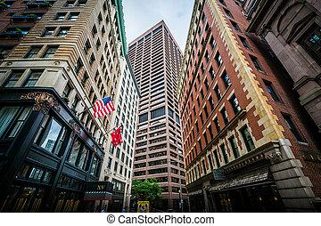 Buildings along Beacon Street in Beacon Hill, Boston, Massachusetts.