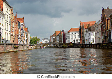 Buildings along canal in Bruges