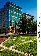 Buildings along Causeway Street in Boston, Massachusetts.
