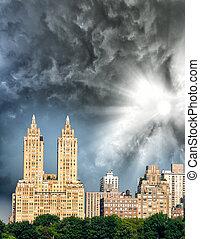Buildings along Central Park in Manhattan, New York City