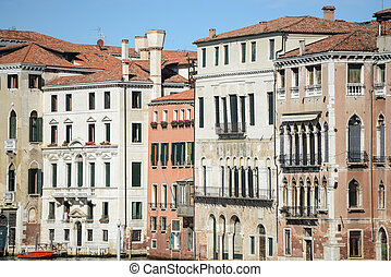 Buildings along the Grand Canal in Venice Italy