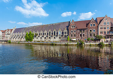 Buildings along the Leie river in Ghent, Belgium