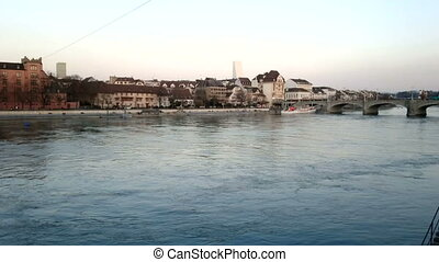 Buildings along the river Rhine in Basel