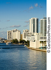 Buildings and boats along the intracoastal waterway in Hollywood Beach, Florida