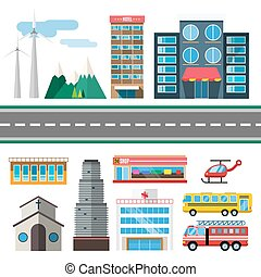 Buildings and city transport flat style illustration. Flat...