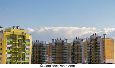 Buildings and clouds in the summer