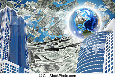 Buildings and Earth. Dollars falling from the sky