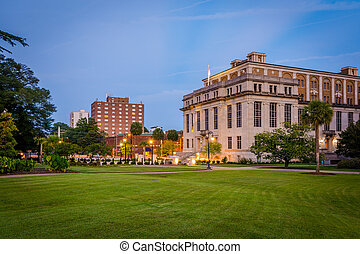 Buildings and grass at the State Capitol in downtown Columbia, South Carolina.