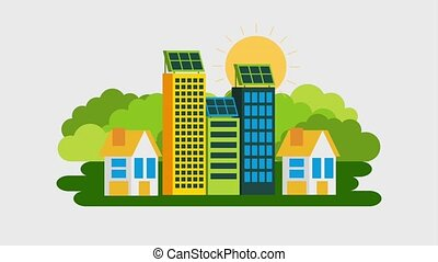 ecology energy renewable - buildings and houses solar panel...