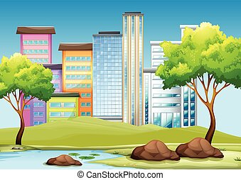 Buildings and park in the city