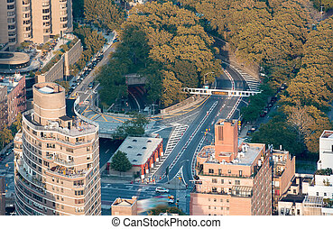 Buildings and Parks of Manhattan, aerial view on a sunny day