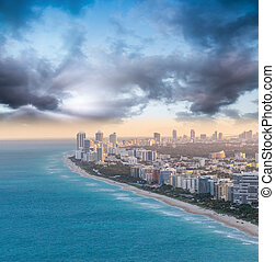 Buildings and skyline of Miami Beach at sunset