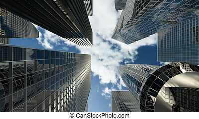 Buildings and skyscrapers with apartments and offices for financial companies