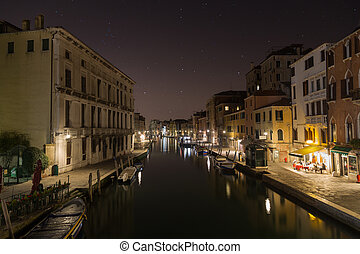Buildings and the Lagoon in Venice at night