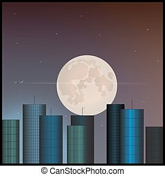 Buildings and the moon in the sky.