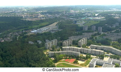 Buildings and trees captured from TV tower in Vilnius - Tall...