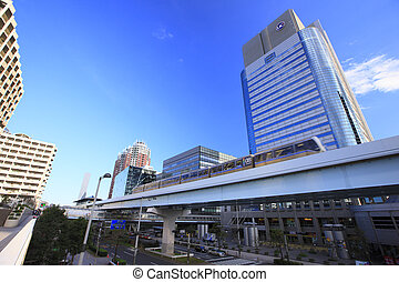 buildings and Yurikamome around Daiba