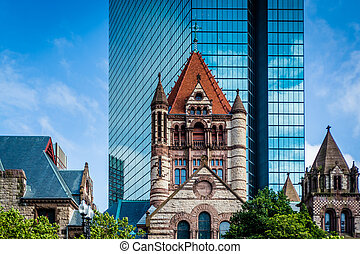 Buildings at Copley, in Back Bay, Boston, Massachusetts.