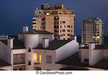 Buildings At Nightfall