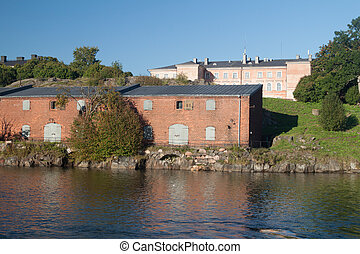Buildings at Suomenlinna Sveaborg , sea fortress near ...
