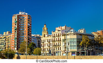 Buildings at the ancient riverside in Valencia, Spain