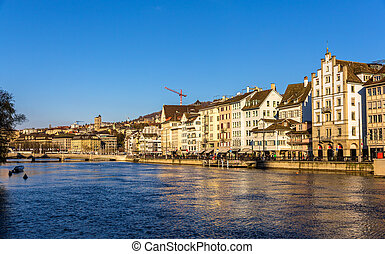 Buildings at the embankment of Zurich - Switzerland