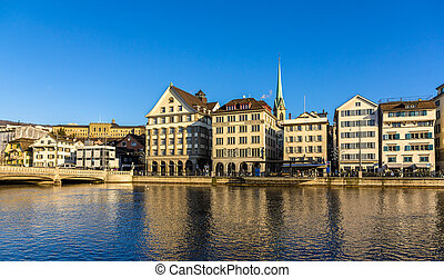 Buildings at the embankment of Zurich - Switzerland
