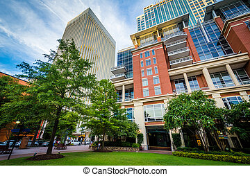 Buildings at The Green in Uptown Charlotte, North Carolina.