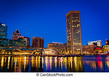 Buildings at the Inner Harbor at night, in Baltimore, Maryland.