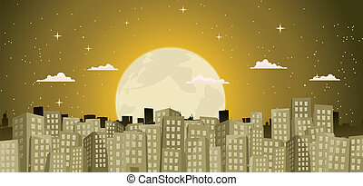 Buildings Background In A Golden Moonlight