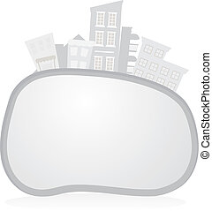 buildings background - grey buildings background with oval...