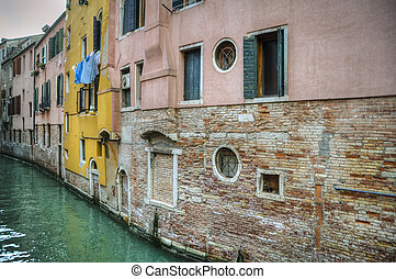 Buildings beside a canal, Venice, Italy