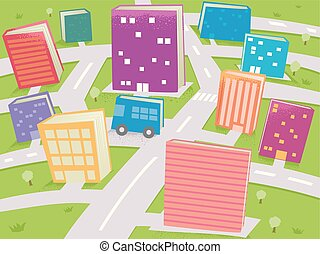buildings, books, иллюстрация