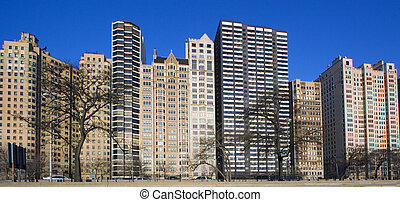 Buildings by Lake Shore Drive in Chicago, IL.