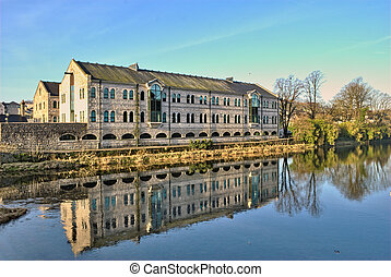 Buildings by the River Kent, Kendal - View of offices ...
