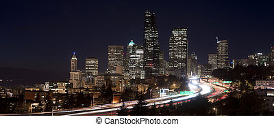Buildings City Downtown Seattle Washington Interstate 5 Night Ho