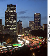 Buildings City Downtown Seattle Washington Interstate 5 Sunset V