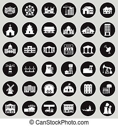 Buildings city icon set EPS10