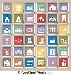 Buildings city icon Sticker set