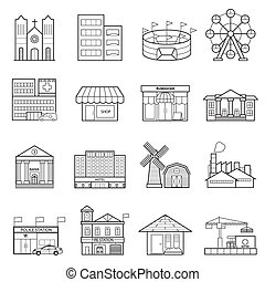 Buildings city line icon set