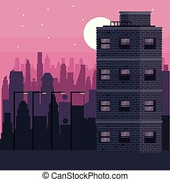 Buildings cityscape at night