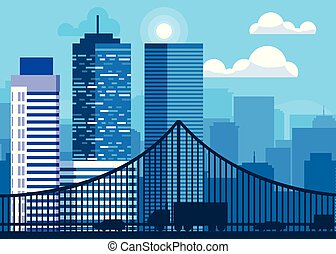 buildings cityscape scene with bridge