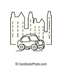 buildings cityscape with car scene